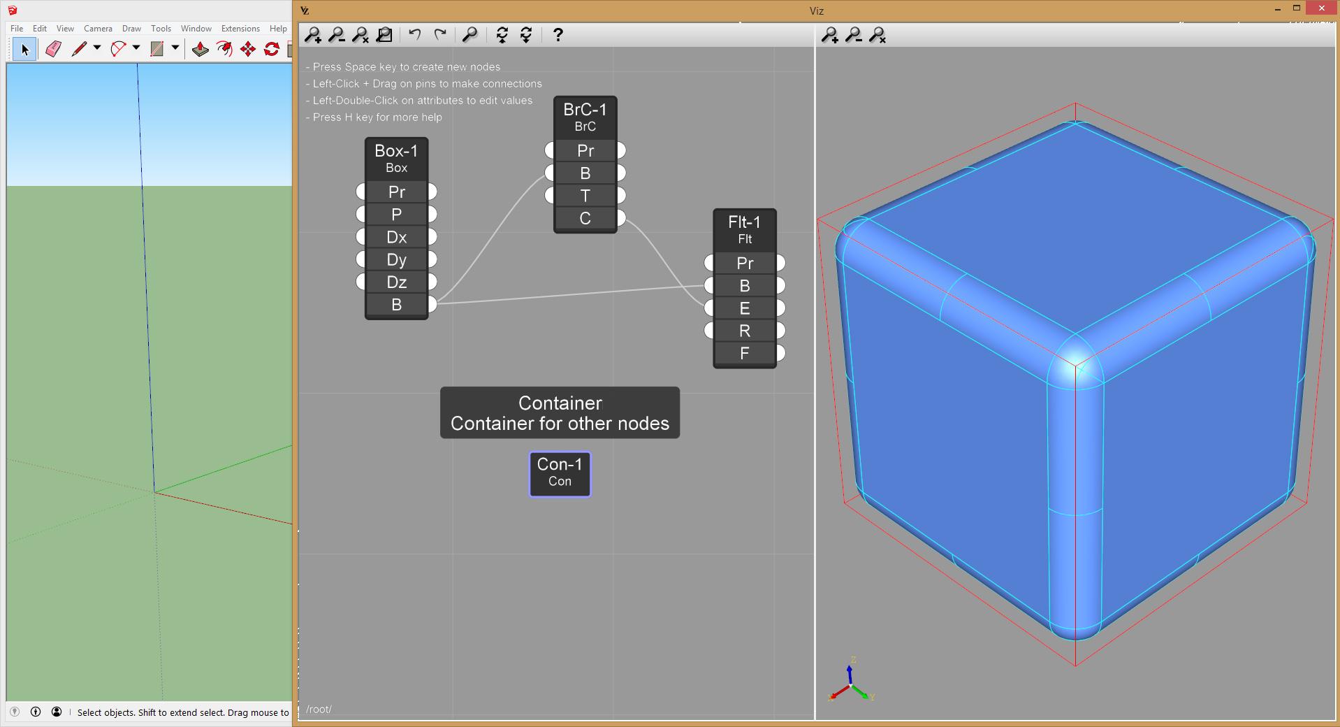 Viz Pro create container node