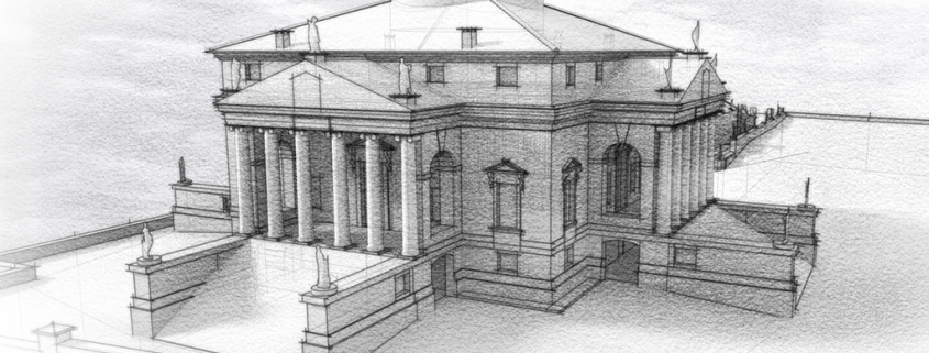 Palladio's Rotonda rendered with SketchFX and AmbientOcclusion