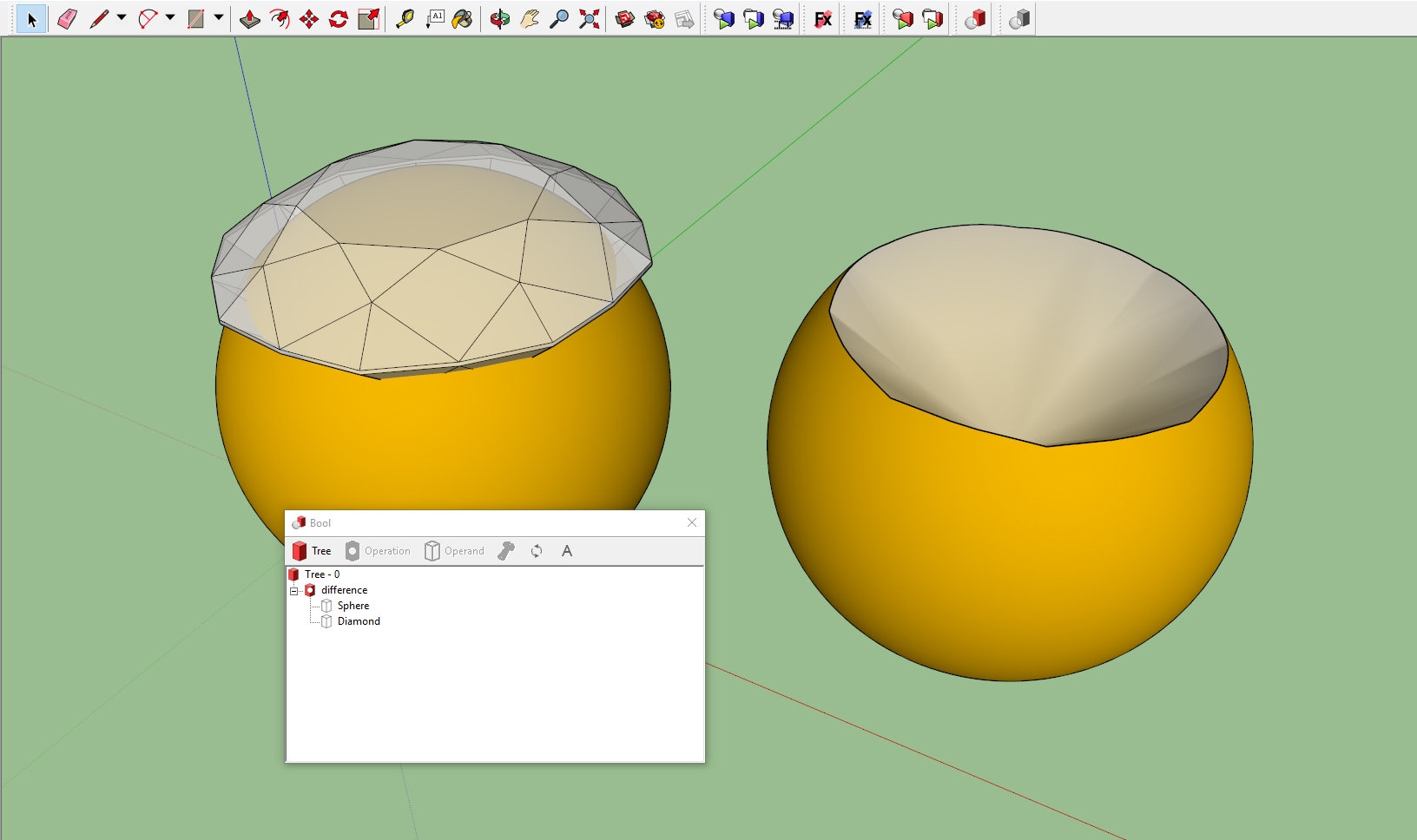 interactive boolean operations sketchup